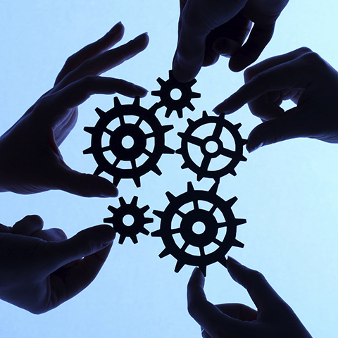 Shared Services Hands with Gears